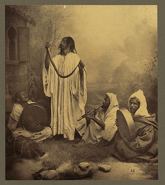 Snake Charmers, Morocco, Tangiers, late 1800s. Photo by Tancrède Dumas (public domain).